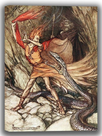 Rackham, Arthur: Loge Tricks Alberich (The Rhinegold and the Valkyrie). Fine Art Canvas. Sizes: A4/A3/A2/A1 (004136)
